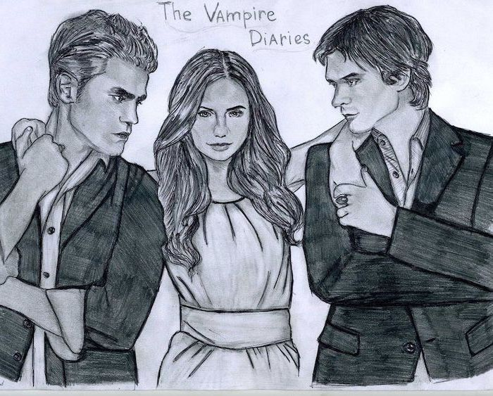 the vampire diaries inspired, black and white, pencil sketch, how to draw easy things, paul wesley, nina dobrev, ian somerhalder