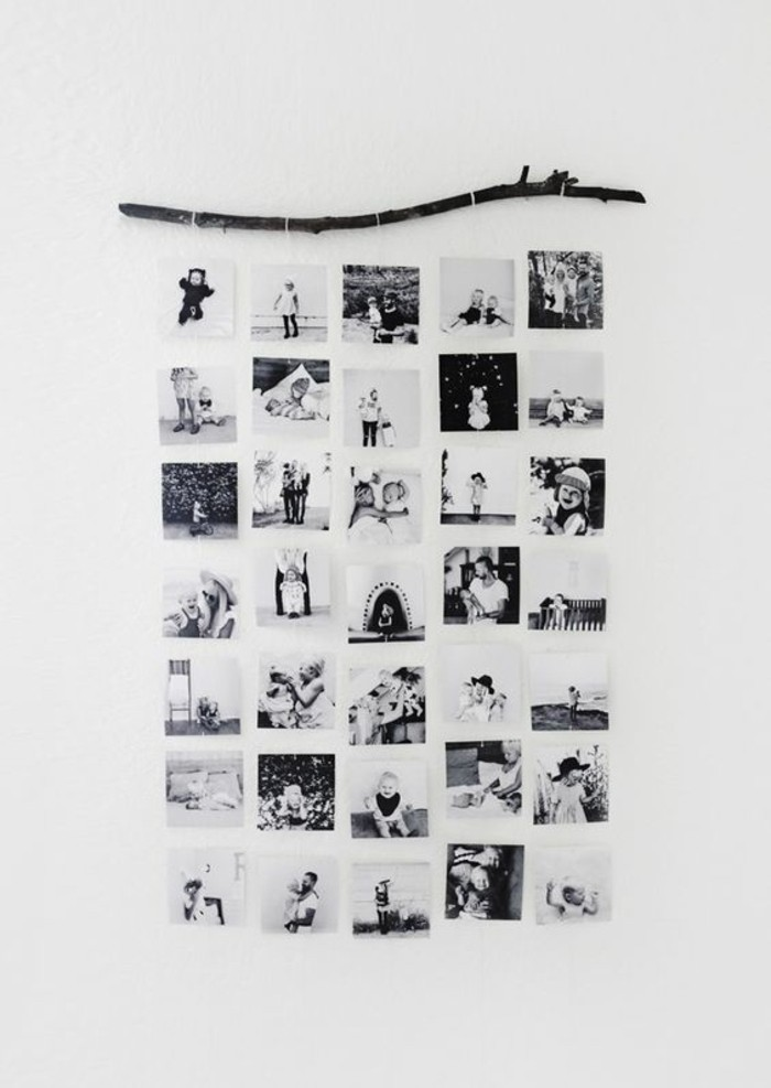 black and white photos, hanging from a tree branch, on a white wall, girl wall decor