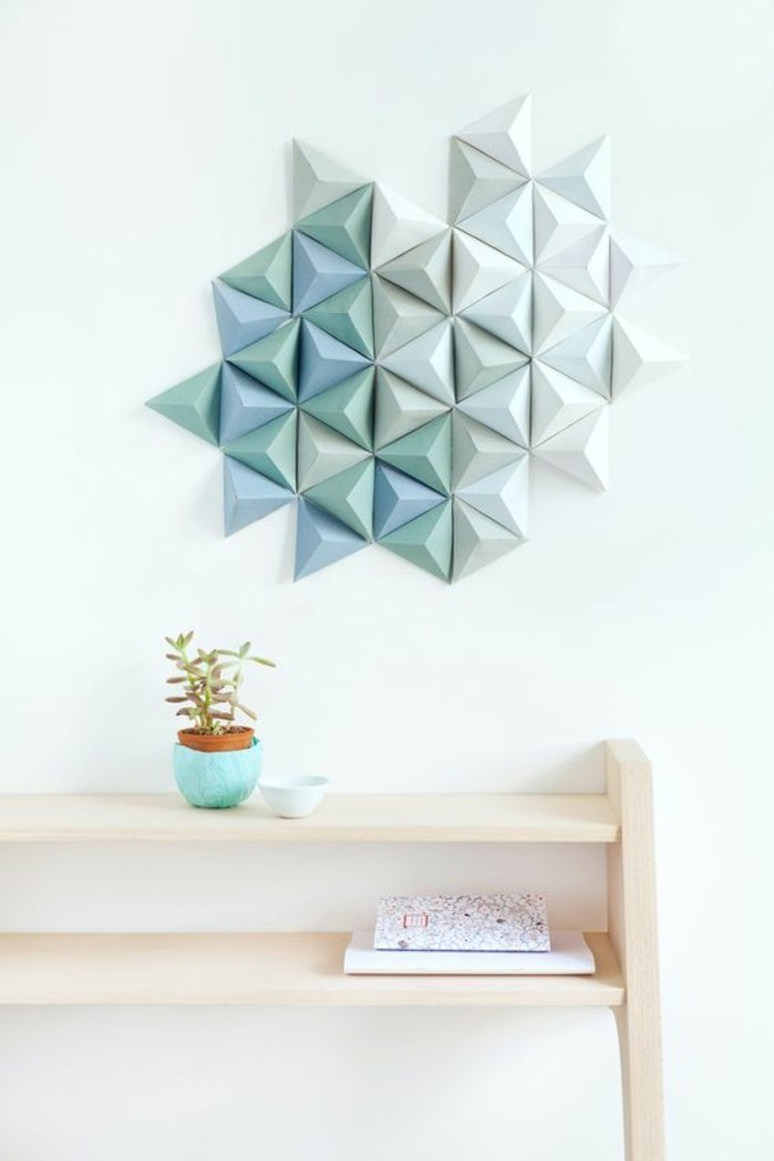 geometrical design, paper triangles, how to decorate a wall, painted in blue and turquoise, on a white wall