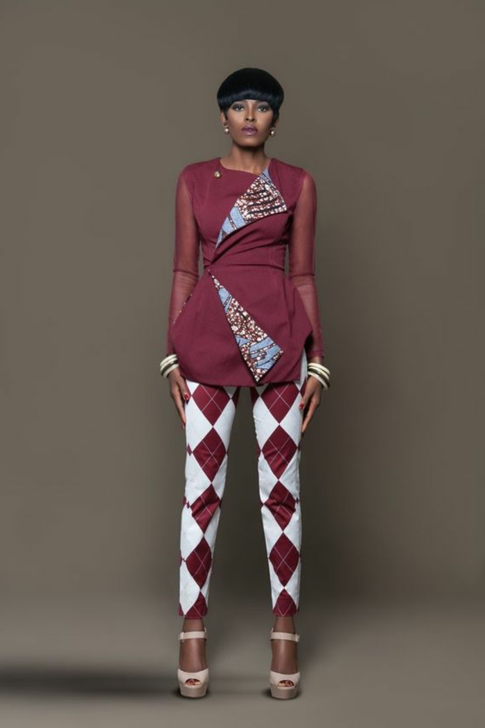 short black hair, african print maxi dresses, printed trousers and blazer, nude high heel sandals