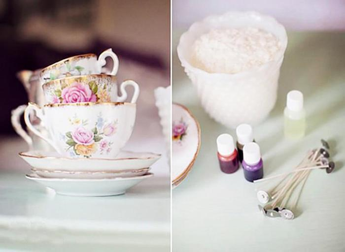 traditional housewarming gifts, vintage teacup candles, candle wax, diy tutorial, step by step