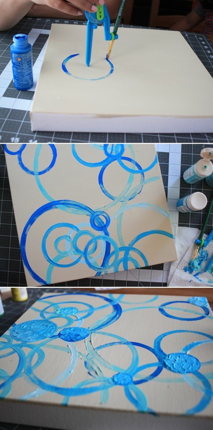 white canvas, blue paint, large wall art ideas, blue circles intertwining, step by step, diy tutorial