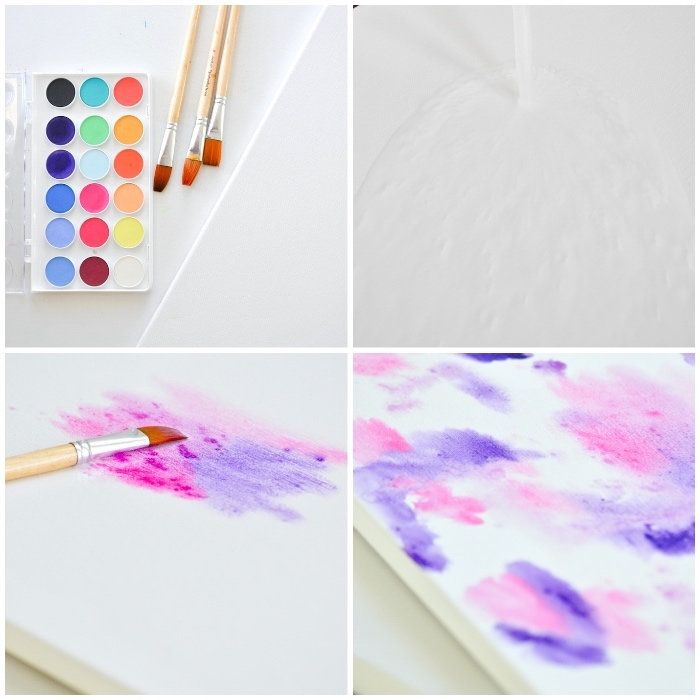 step by step, diy tutorial, pink and purple paint, on a white canvas, large wall decor ideas