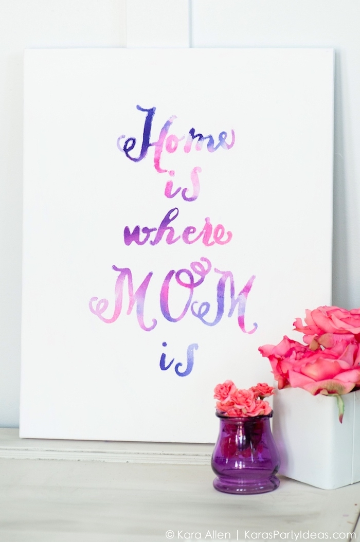 bouquets of roses, large wall decor ideas, home is where mom is, on a white canvas, on a white wall