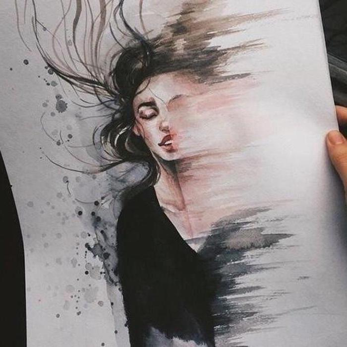 woman melting away, how to draw step by step for beginners, watercolour painting, long black hair