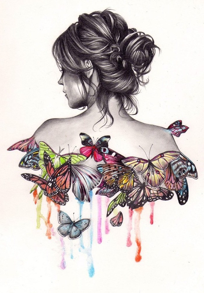 woman with a messy bun, colourful butterflies, fun and easy things to draw, white background