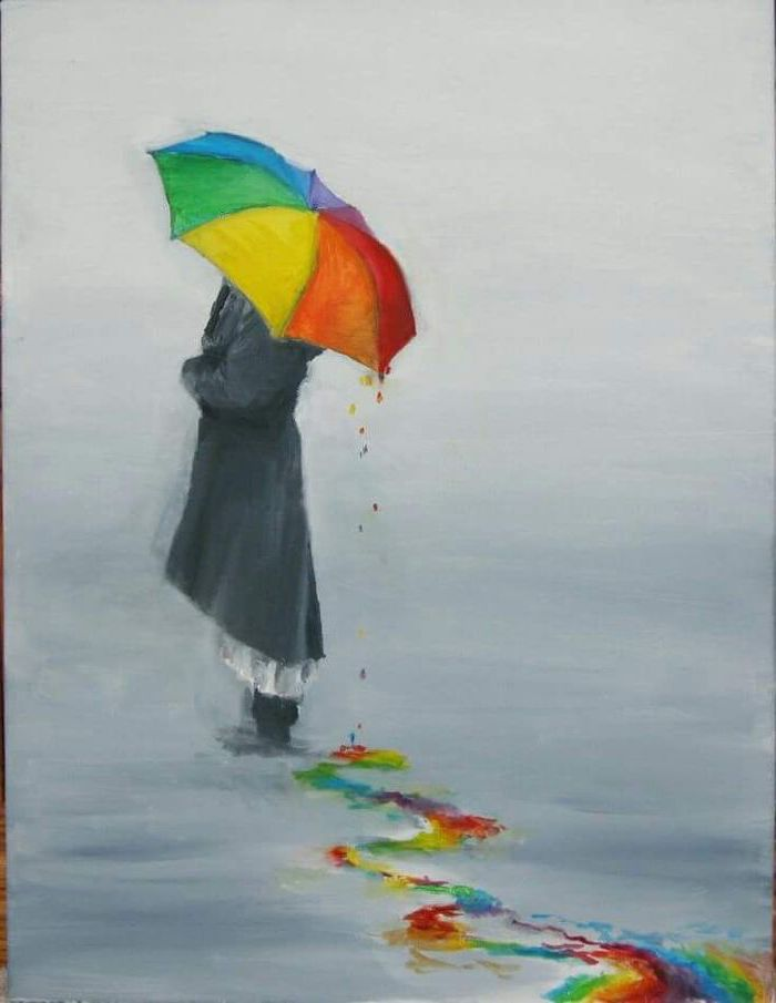 woman standing, with a colourful umbrella, long black coat, fun and easy things to draw