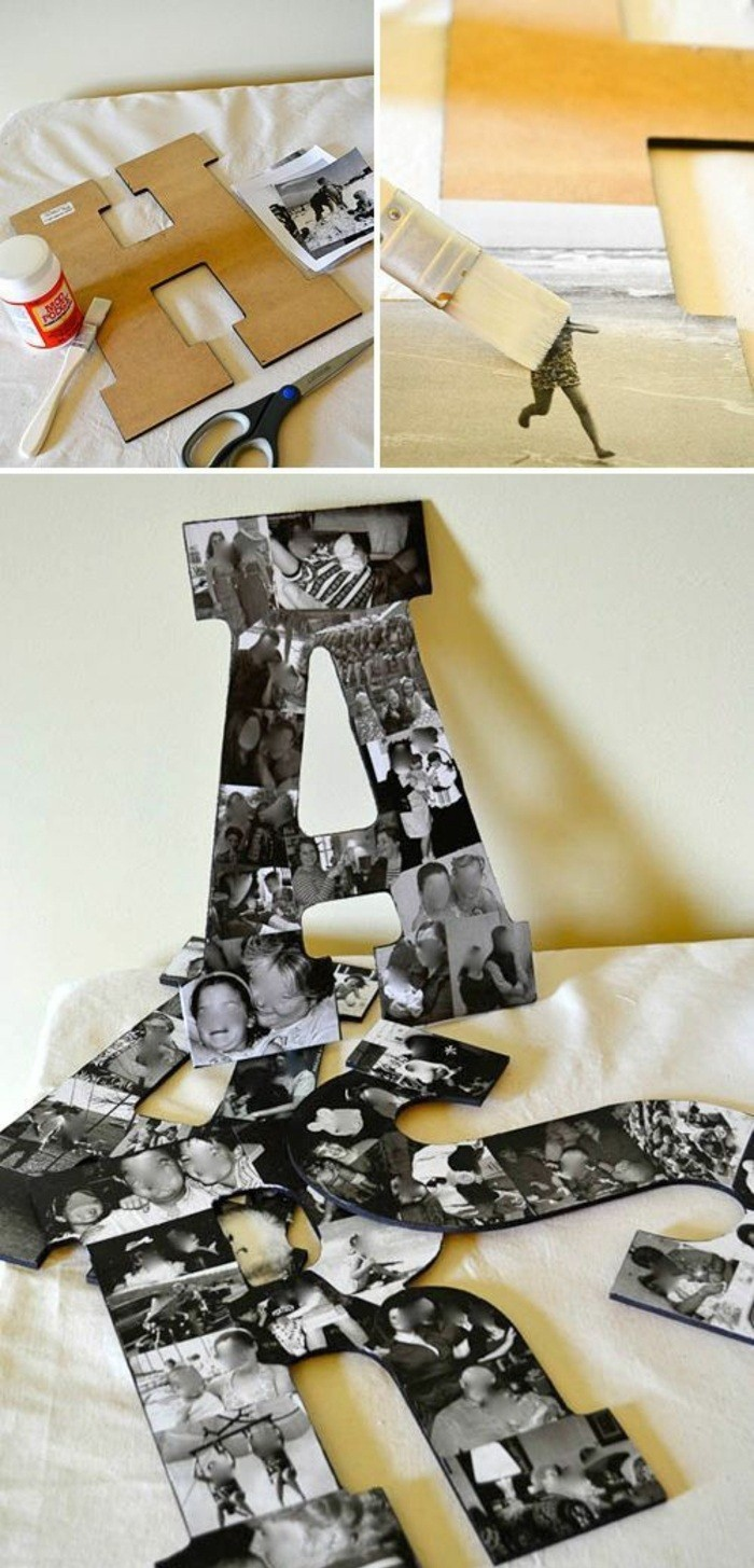 wall design ideas, wooden letters, black and white photos, glued to them, step by step, diy tutorial