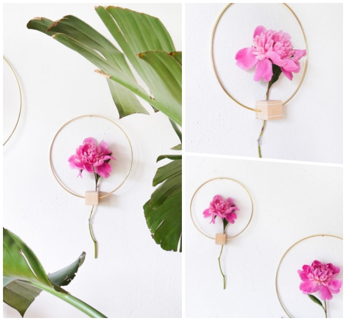 metal and wood, flower frames, hanging on a white wall, diy wall decor, large palm leaves