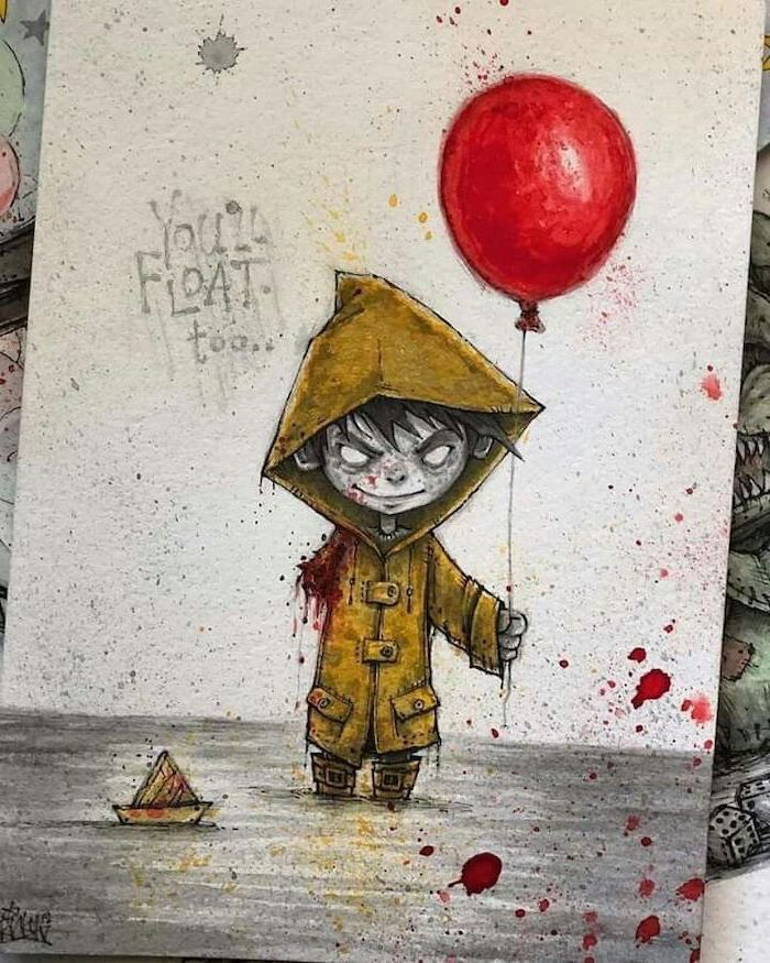 you'll float too, it movie inspired, cute easy things to draw, georgie as a zombie, coloured pencils drawing