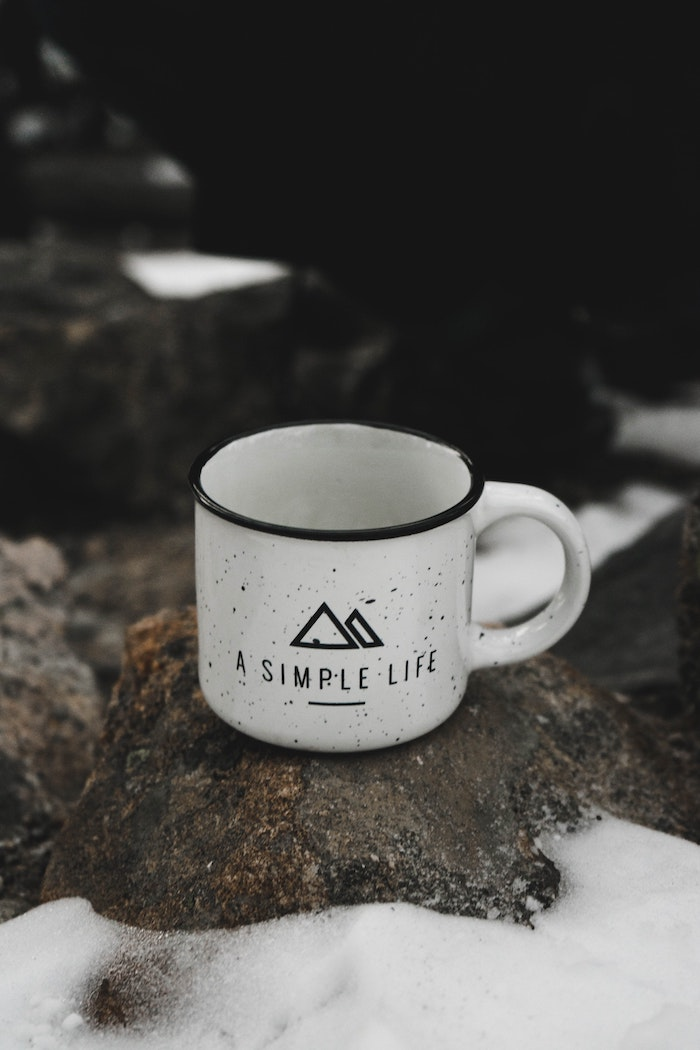a simple life, coffee mug, on a rock with snow, iphone wallpaper tumblr