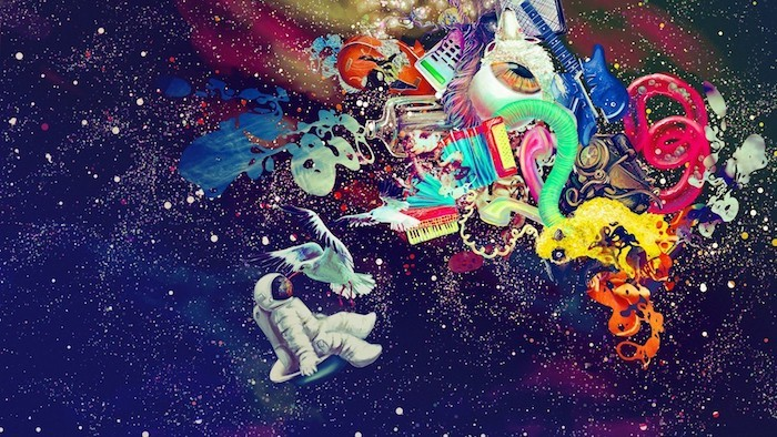 abstract drawing, floating astronaut, iphone wallpaper tumblr, colourful items, starry sky