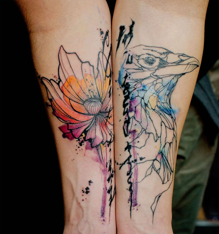 flower and bird, watercolour tattoos, arm tattoos for men, forearm tattoos