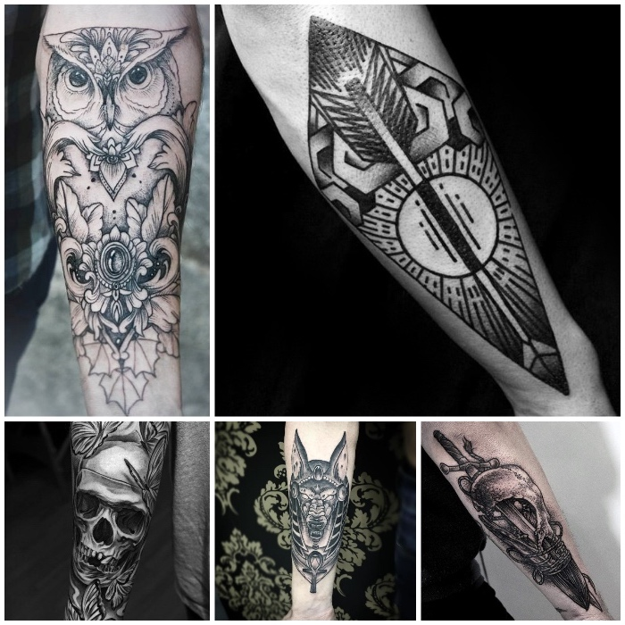 side by side photos, small tattoos for men, skulls and owl, geometrical forearm tattoos