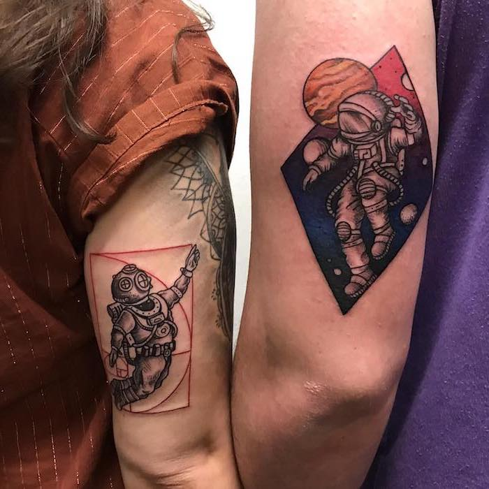 astronauts in space, matching couple tattoos, coloured back of arm tattoos