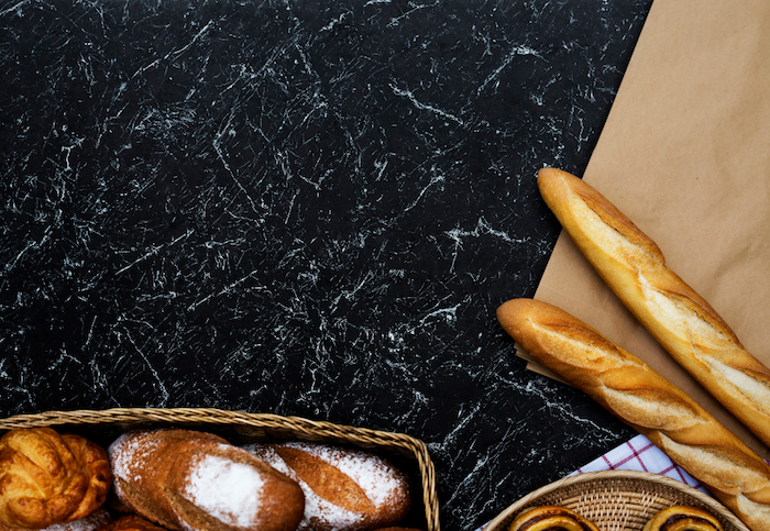 wallpaper tumblr, two baguettes, bread baskets, black and white, marble countertop
