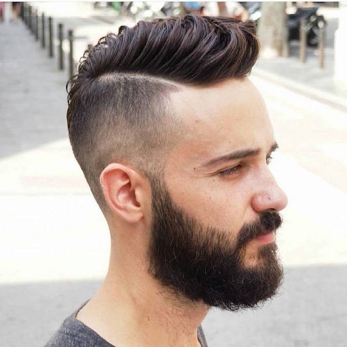 hairstyle for men, brown hair, black beard, grey shirt