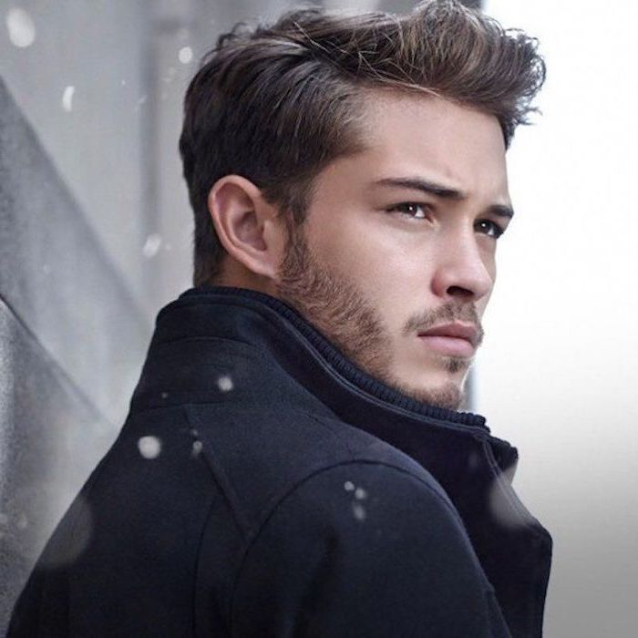 black coat, hairstyle for men, brown hair, snow falling