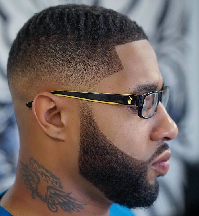 man wearing sunglasses, hairstyle for men, black curly hair, black beard, neck tattoo