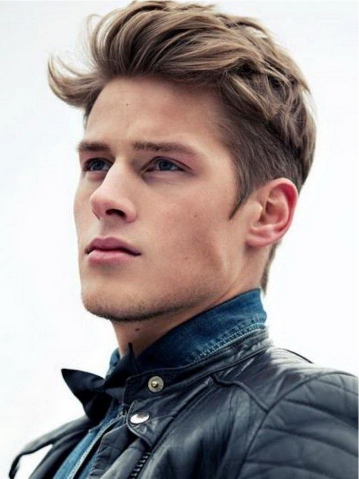 black leather jacket, medium length hairstyles for men, blonde hair, denim shirt