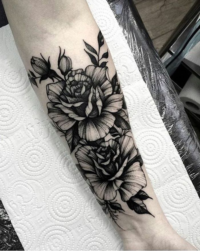 floral forearm tattoo, hand on white paper, forearm tattoos for men