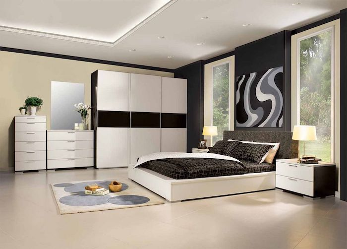 black wall, tiled floor, grey head board, white drawers and night stands, how to decorate your room