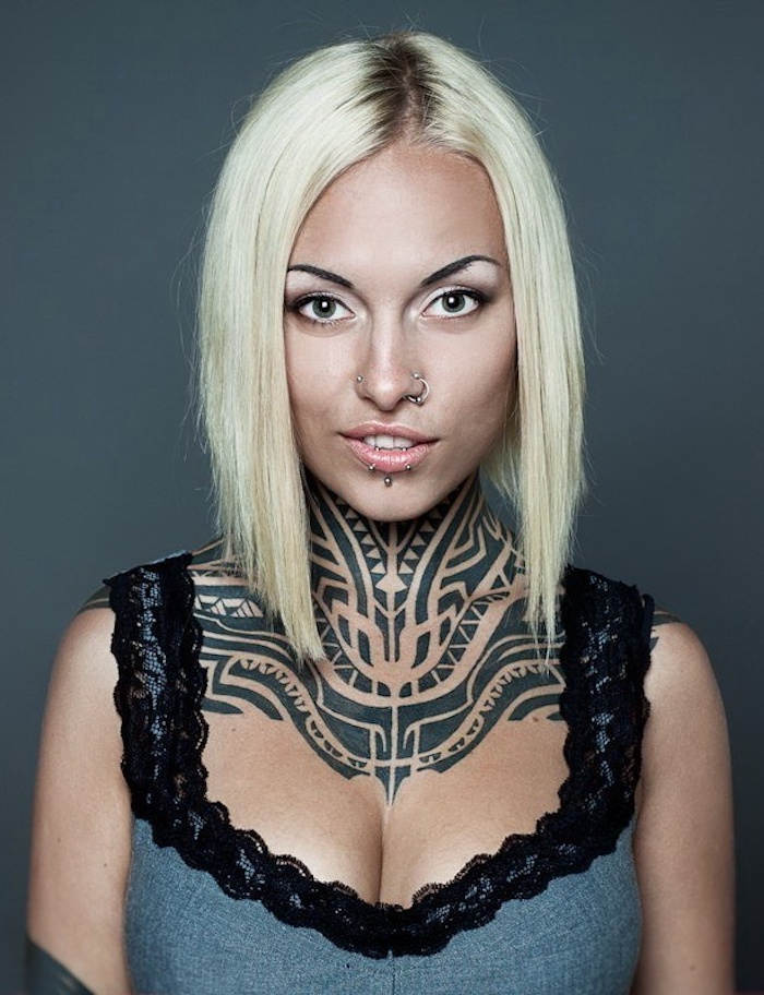 blonde hair, small tattoos for girls, tribal neck tattoo, grey top