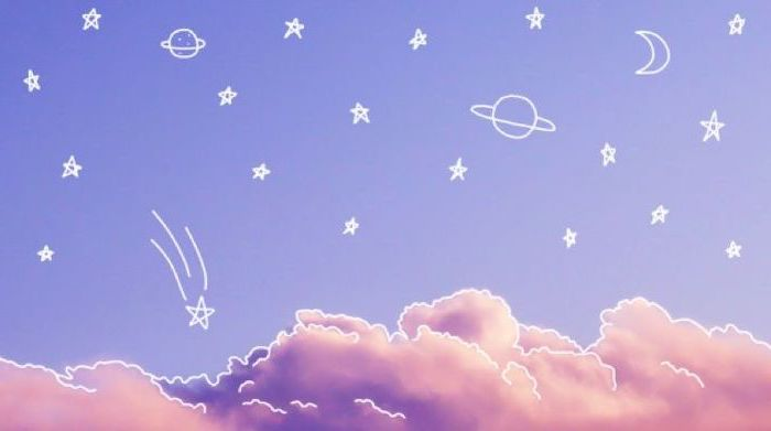 purple sky, orange clouds, pink background tumblr, planets and stars drawings