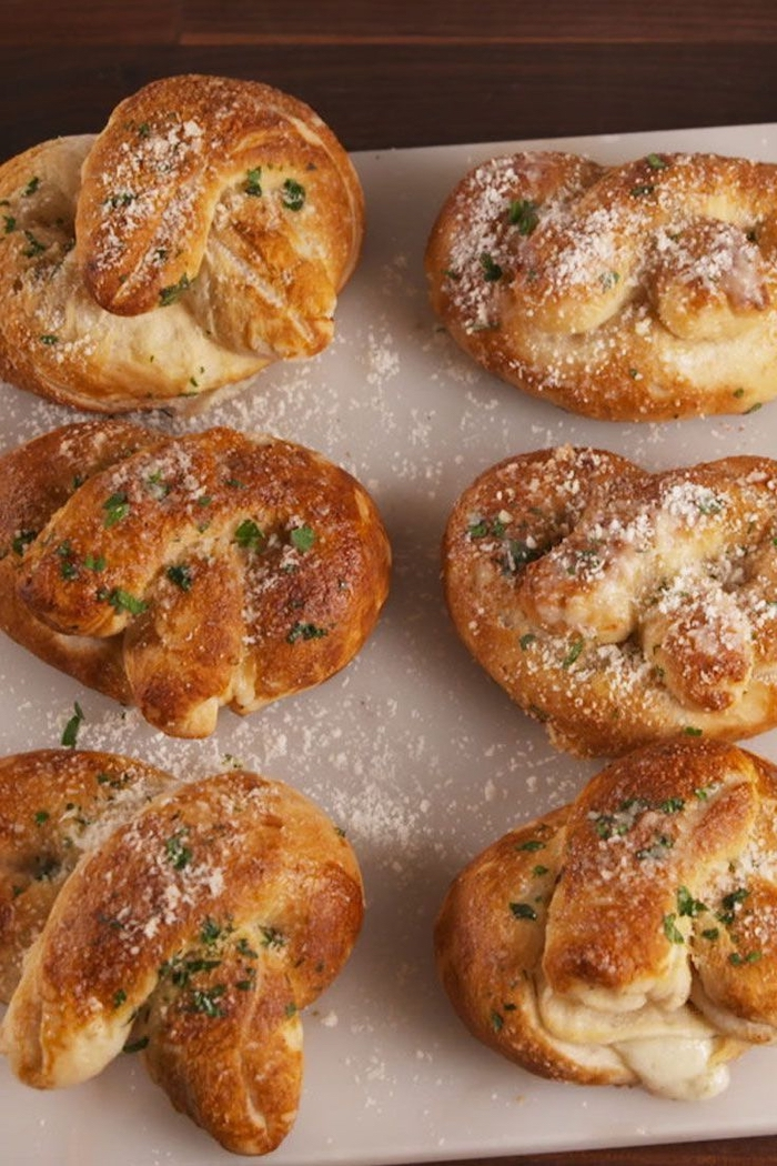 bread bites, with parmesan and herbs, vegetarian appetizer recipes, white plate