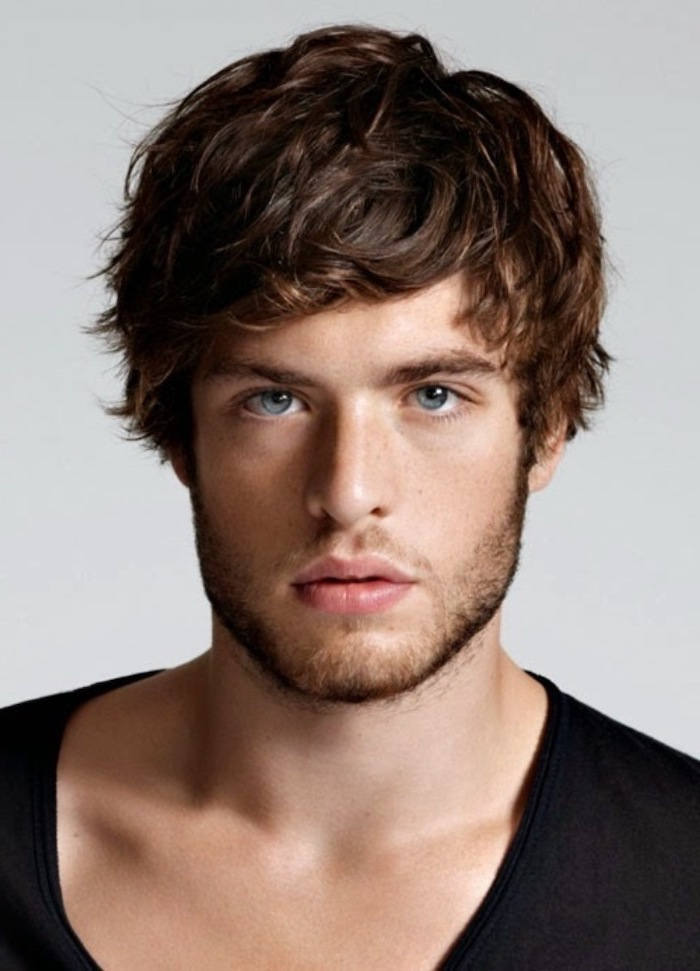 blue eyes, short guy haircuts, black shirt, brown messy hair