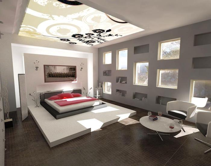 tiled floor, how to decorate your room, grey wall, white armchairs, ceiling accent, grey bed frame