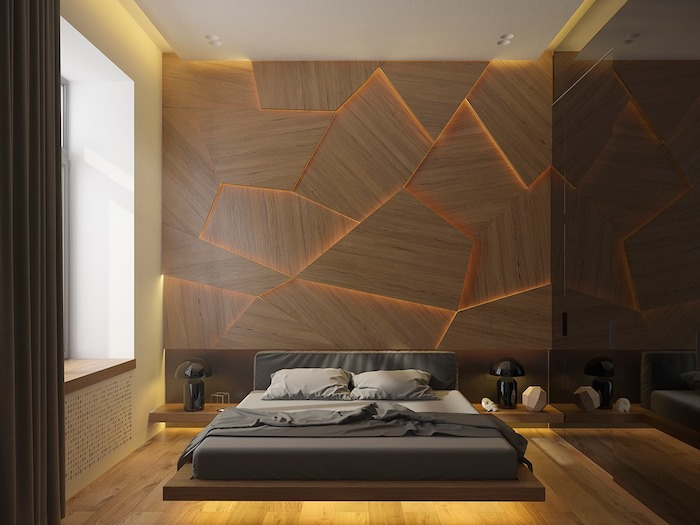 wooden boards, led lights between them, accent wall, bedroom design ideas, wooden floating bed
