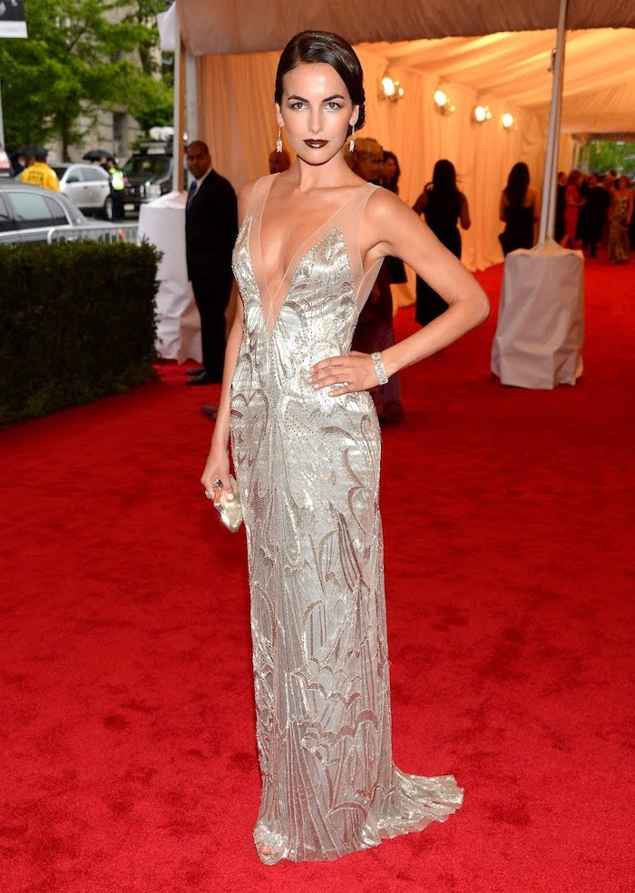 long silver dress, worn by camille belle, met gala, brown hair, in a low updo, on the red carpet