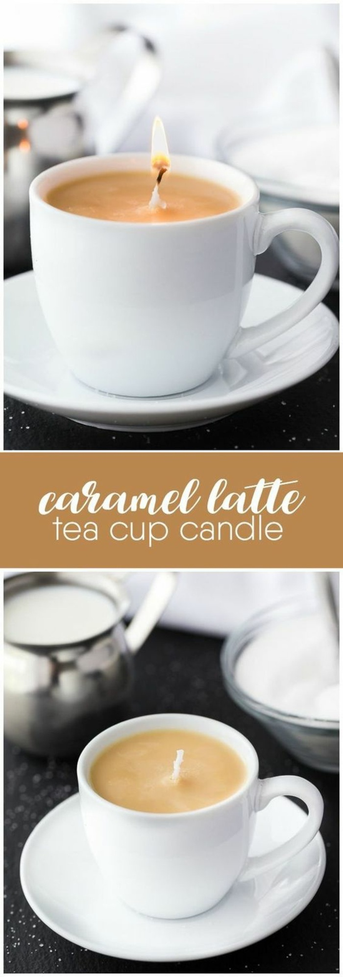 caramel latte, tea cup candle, candle wedding favors, white ceramic tea cup and plate