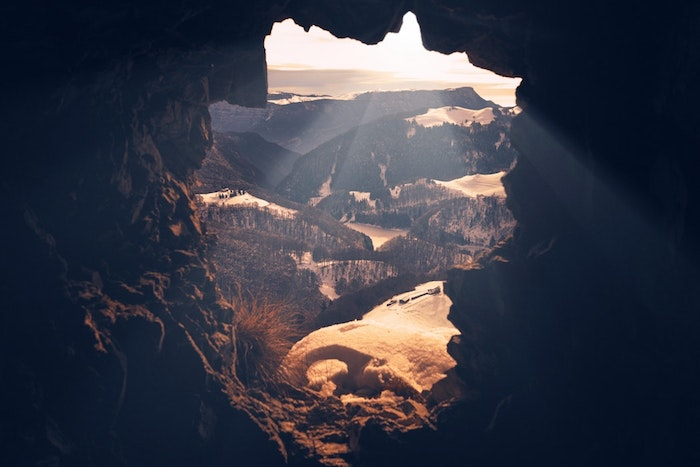 mountain landscape, cute tumblr wallpapers, view from a cave, sun shining