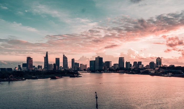 city landscape, cute tumblr wallpapers, sunset sky, river flowing