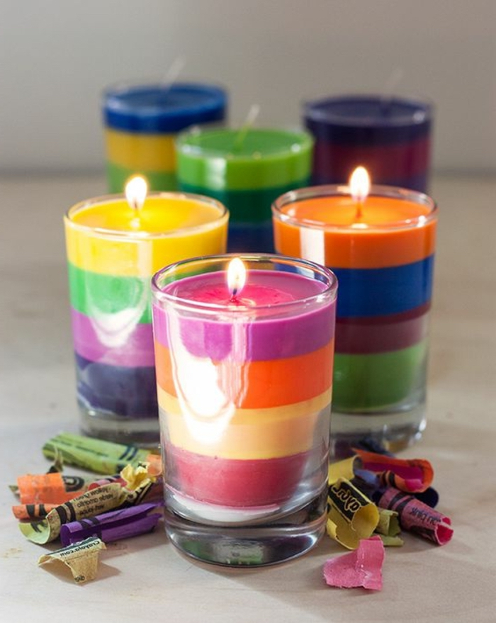 colourful candles, how to make homemade candles, crayon wrappers around, small round glasses