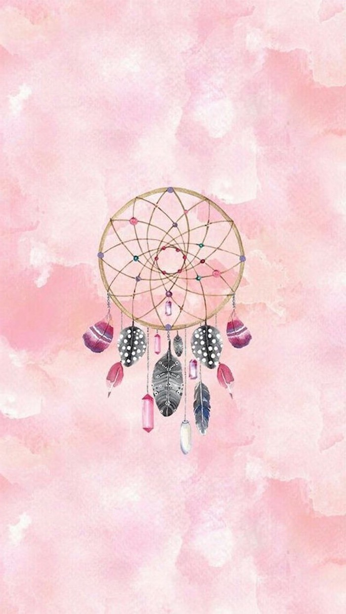 pink background, cute tumblr backgrounds, colourful dreamcatcher