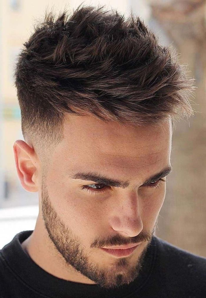 black shirt, brown hair, best haircuts for men, brown beard
