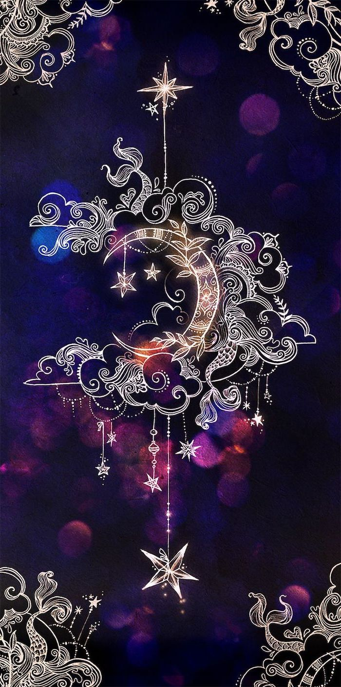 crescent moon, mandala drawings, backgrounds for girls, purple background