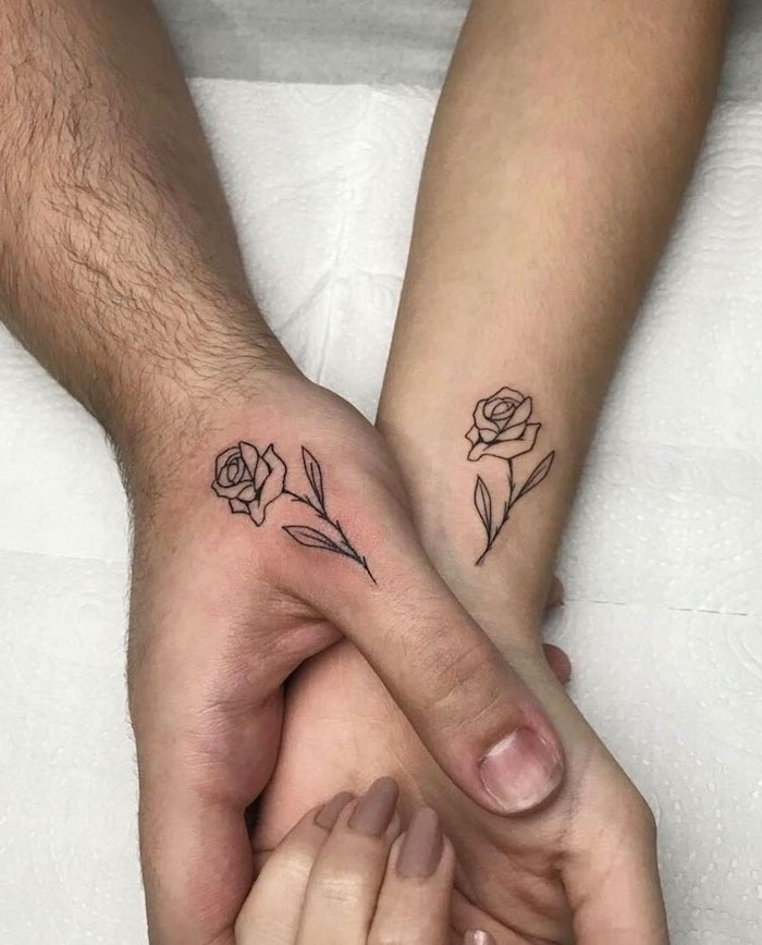 small roses, finger tattoos, couple tattoos ideas gallery, white paper background