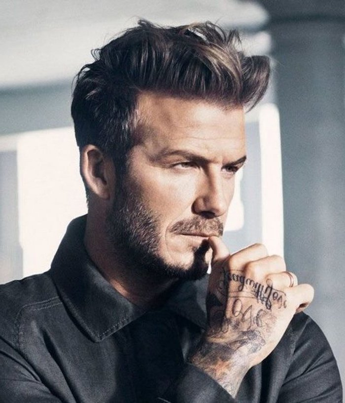 david beckham, wearing a black shirt, hand tattoos, best hairstyle for men, blonde hair