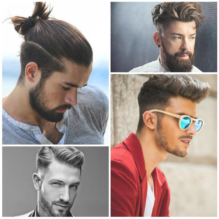 side by side photos, different hairstyles, brown hair, medium hairstyles for men