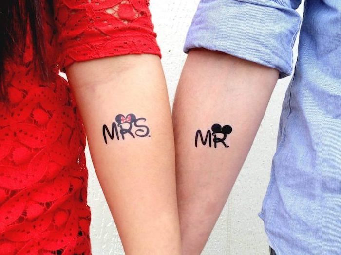 mrs and mr, disney inspired, mickey and minnie, matching tattoos, forearm tattoos