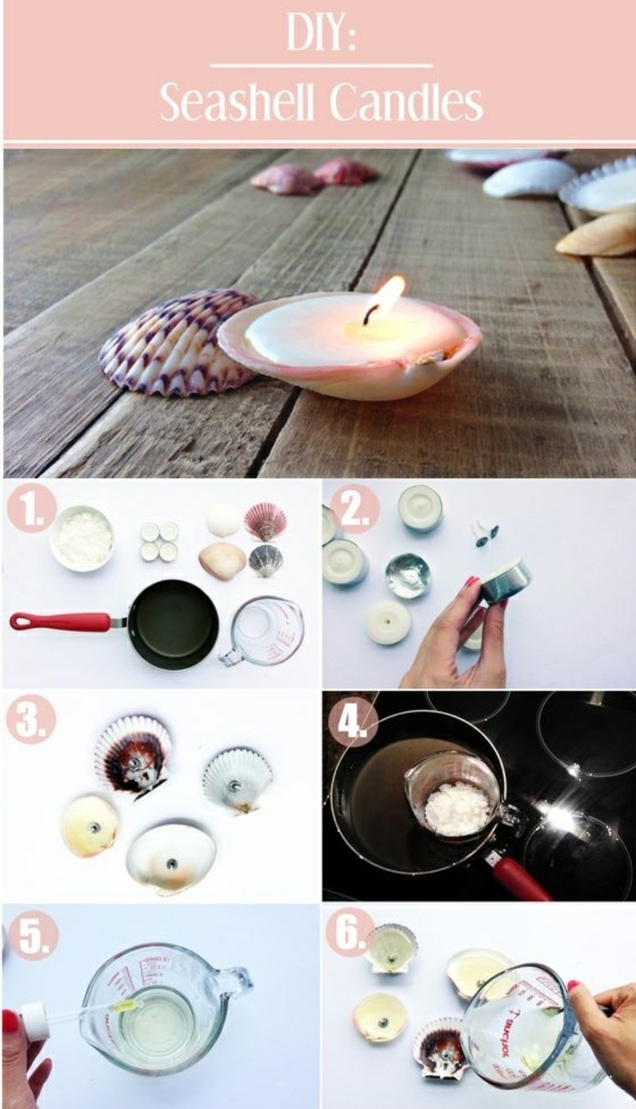 diy seashell candles, step by step, diy tutorial, how to make homemade candles, essential oils