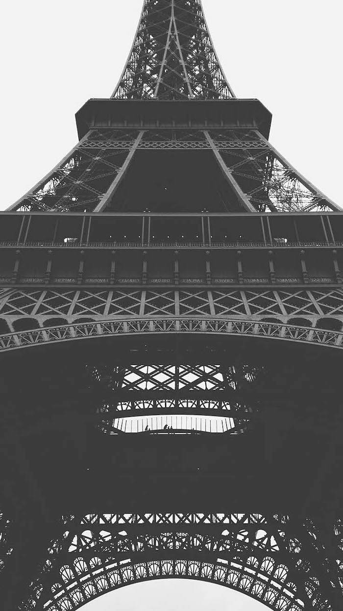 black and white photo, of the eiffel tower, in paris, girly backgrounds
