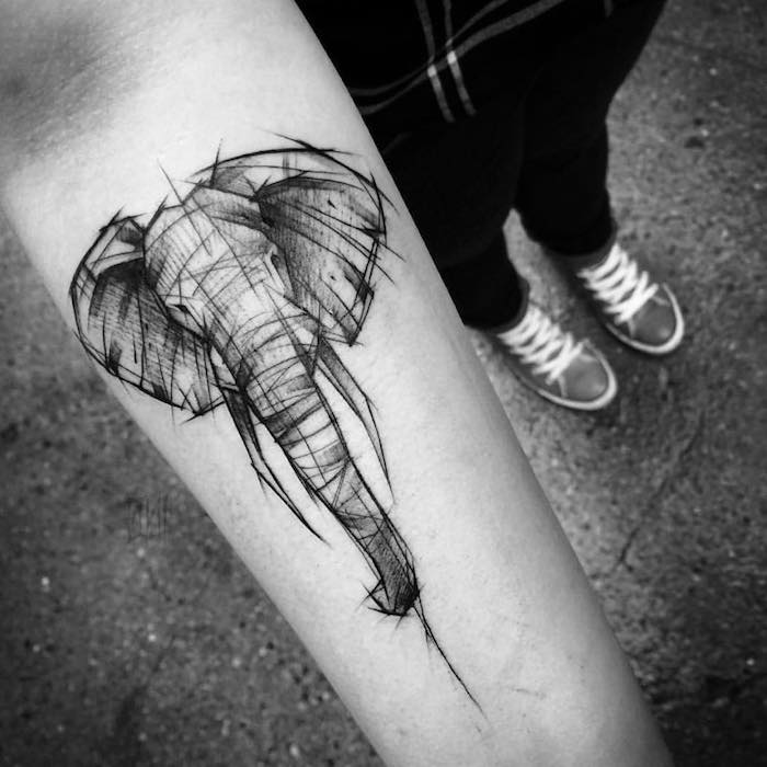 elephant head, black and white sketch, forearm tattoo, tattoos for men