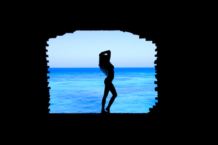 female silhouette, tumblr iphone backgrounds, ocean water, blue sky