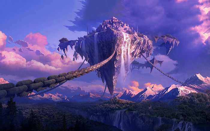 floating island, tumblr iphone backgrounds, 3d drawing, purple and pink skies, mountain landscape