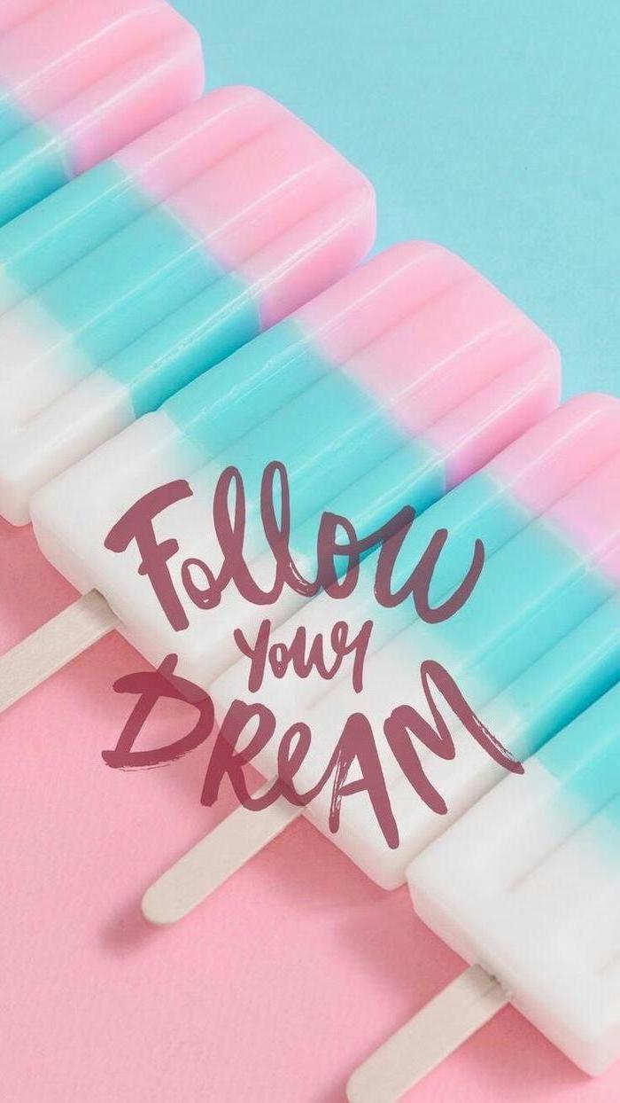 girly backgrounds, follow your dream, pink blue and white lollipops